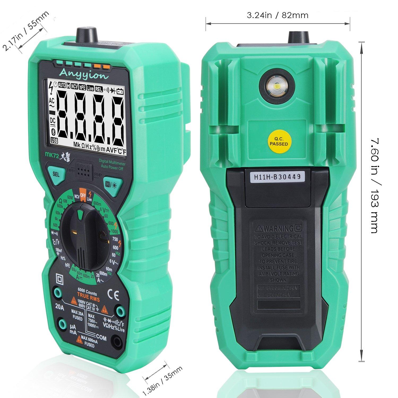 Multim/ètre Num/érique Anyyion MK72 Voltm/ètre Ohmm/ètre Amp/èrem/ètre AC DC D/étecteur de Tension ;