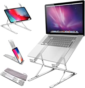 Jondarla Ergonomic Laptop Stand for Desk, Sturdy Aluminium Laptop Riser with 6+9 Adjustable Levels, Portable Foldable Laptop Holder, Compatible with All Notebooks iPads Tablets up to 17.3""