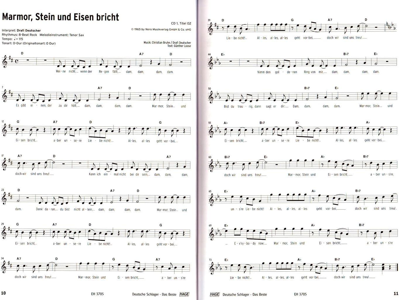 Deutsche Schlager lo mejor para Piano, Teclado, Guitarra y voz ...
