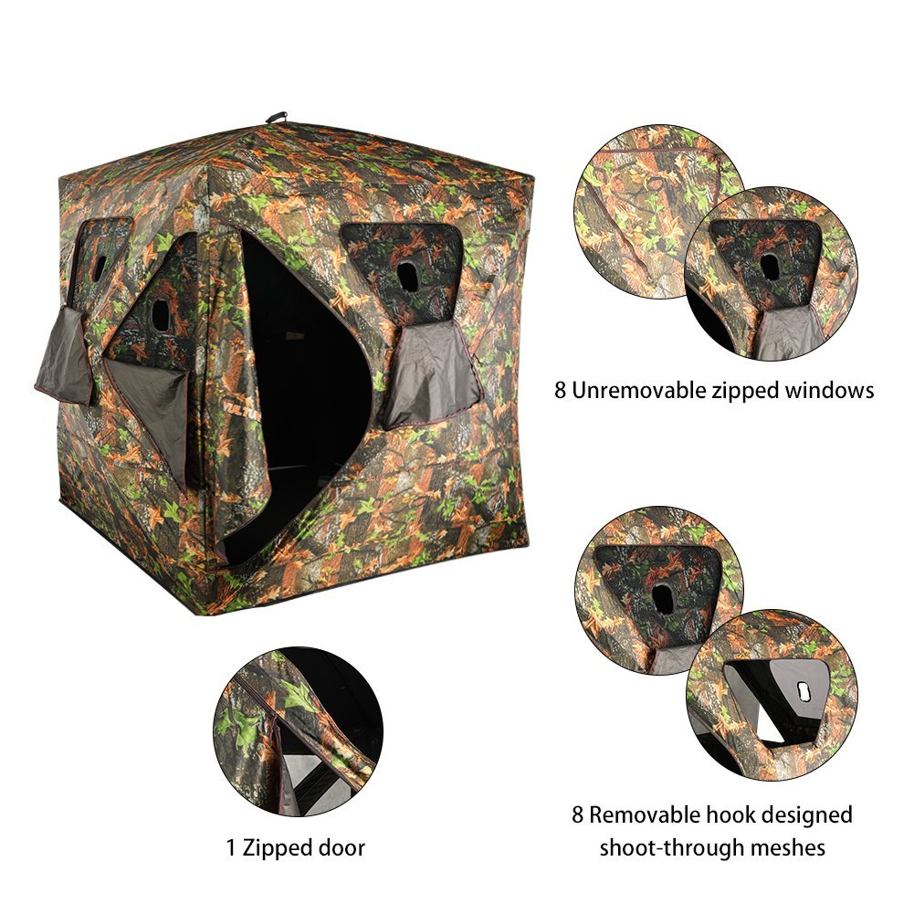 VULTURE Pop-up Portable 3-Person Ground Hunting Blind, 65'' X 65'' X 74'',Camo Pattern, Oxford Fabric Hunting Blinds by Vulture (Image #3)