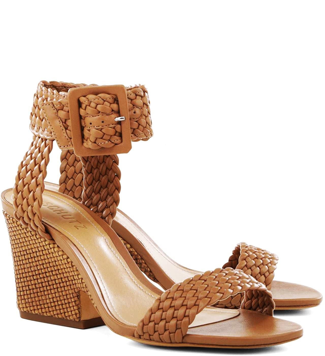 8db38876242 Amazon.com  SCHUTZ Endy Desert Brown Woven Ankle Strap Retro Block Mid Heel  Sandal  Shoes