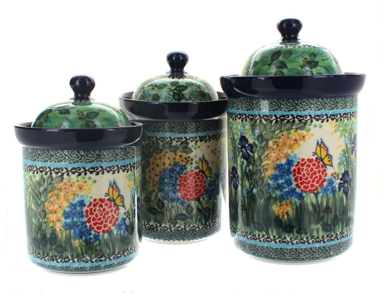 Polish Pottery Teresa 3 Piece Canister Set