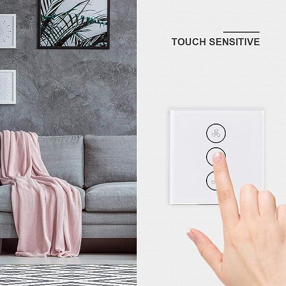 Hamkaw Inteligente Toque Panel Control De Velocidad del Ventilador APLICACIÓN WiFi Temporizador Remoto Y Control De Velocidad Compatibles con Alexa/Google Home/Echo/IFTTT: Amazon.es: Hogar
