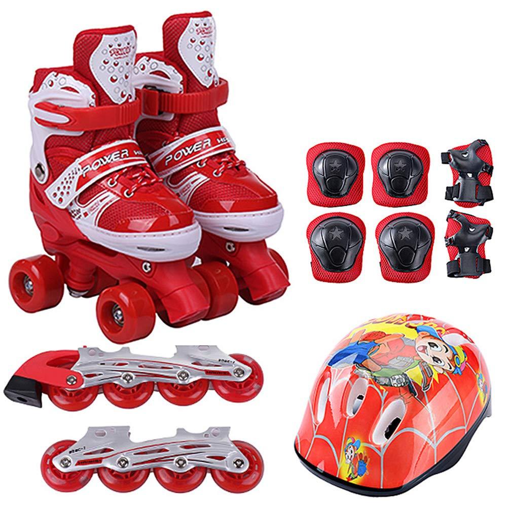調節可能な複列スケート靴、二重目的単列複列安全および快適なローラーシューズ、初心者に最適な機器、子供用ギフト B07QKZP13P Large|red red Large