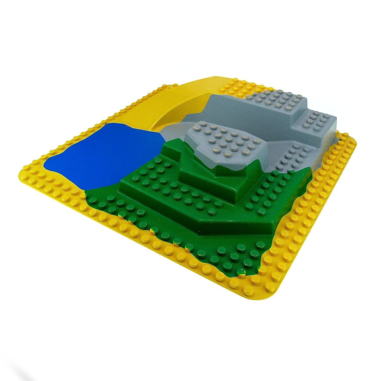 Große 3D 3 D Platte 38 x 38 38 38 cm 24 x 24 Noppen gelb grün grau blau Felsen Zoo Wasser Lego Duplo D09 65543c