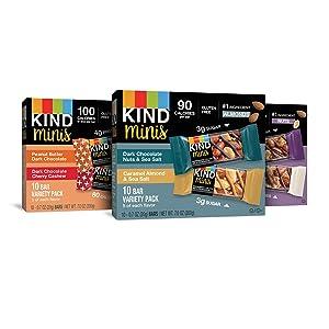 KIND Bar Mini's, Variety Pack, Gluten Free, 100 Calories, Low Sugar, .7oz Bar, 30 Count