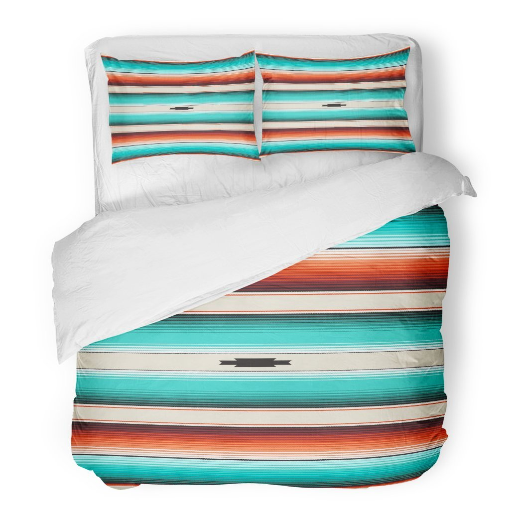 SanChic Duvet Cover Set Turquoise Orange Navajo White Stripes Mexican Serape Threads Decorative Bedding Set with 2 Pillow Cases King Size