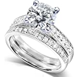 Round Moissanite (2ct DEW) and Diamond Wedding Ring Set in 14k White Gold - Size 4