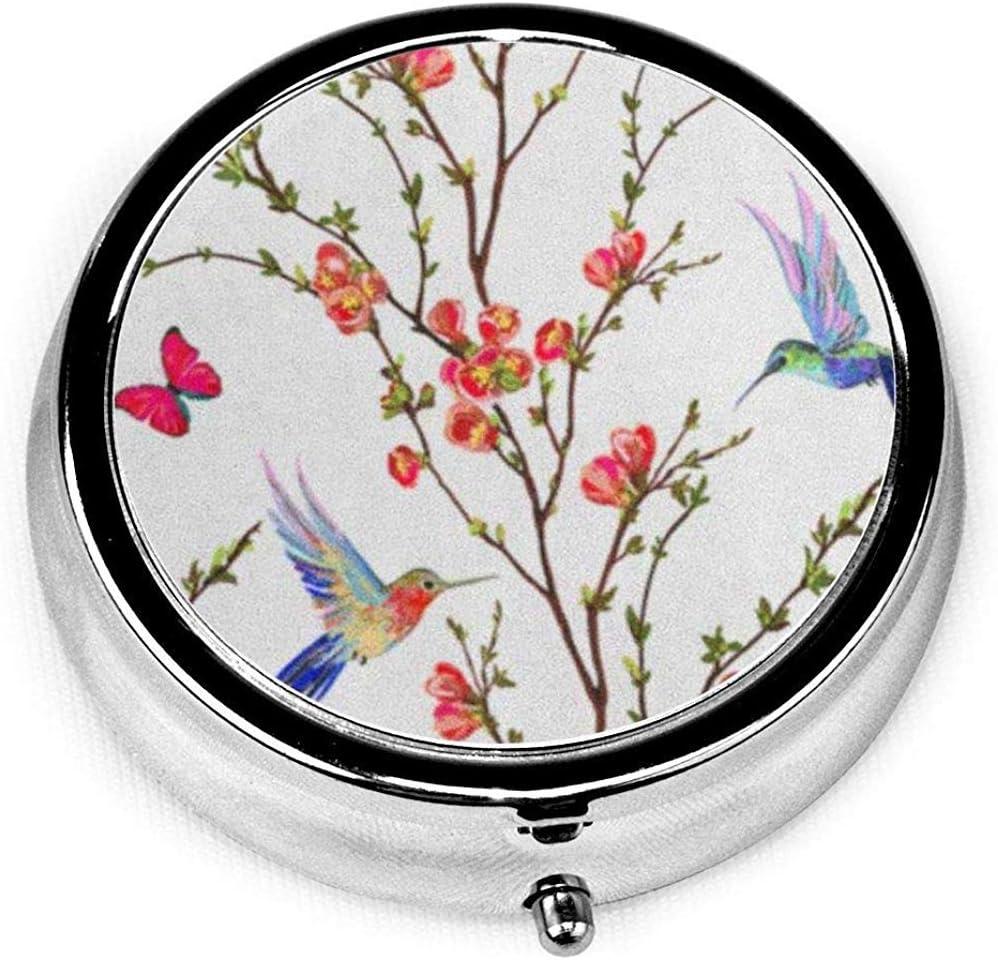 Pastillero redondo con 3 compartimentos; Caja Pastillas Viaje Pájaro Patrón Floral Colibríes Flores Japonesas Tropicales Mariposas Mariposa