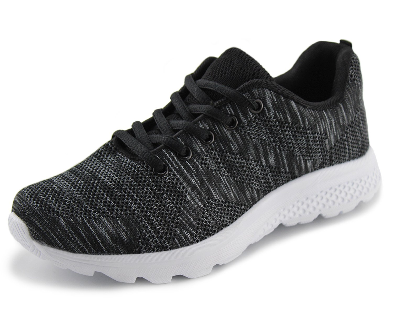 Jabasic Women's Breathable Knit Sports Running Shoes Casual Walking Sneaker (8 B(M) US, Black/White-1)