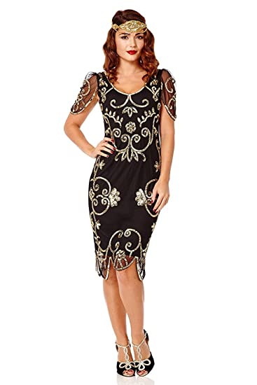 gatsbylady london Rosemary Vintage Inspired Flapper Dress Black Gold (US2 EU34)