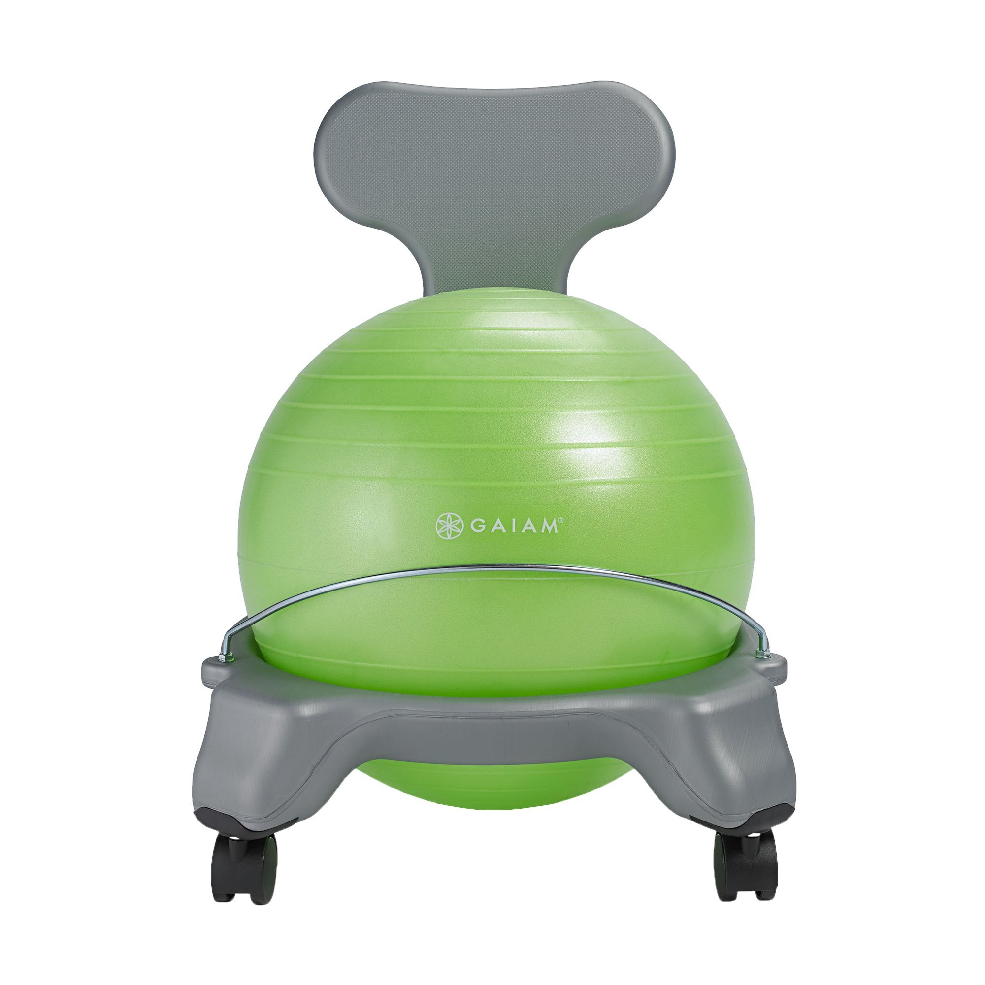 Gaiam Kids Balance Ball Chair - Classic Kid's Stability Ball Chair, Alternative School Classroom Flexible Desk Seating for Active Students with Satisfaction Guarantee, Green (Renewed)