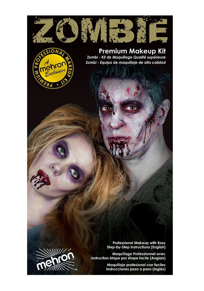 Special Effects Premium Zombie Apocalypse Makeup Kit By Mehron – Halloween SFX Make Up – Bruise Ring, Blood Gel, Flesh Liquid Latex Color Cup, Decayed Teeth, Brush, Foam Wedge, Wipes Instructions