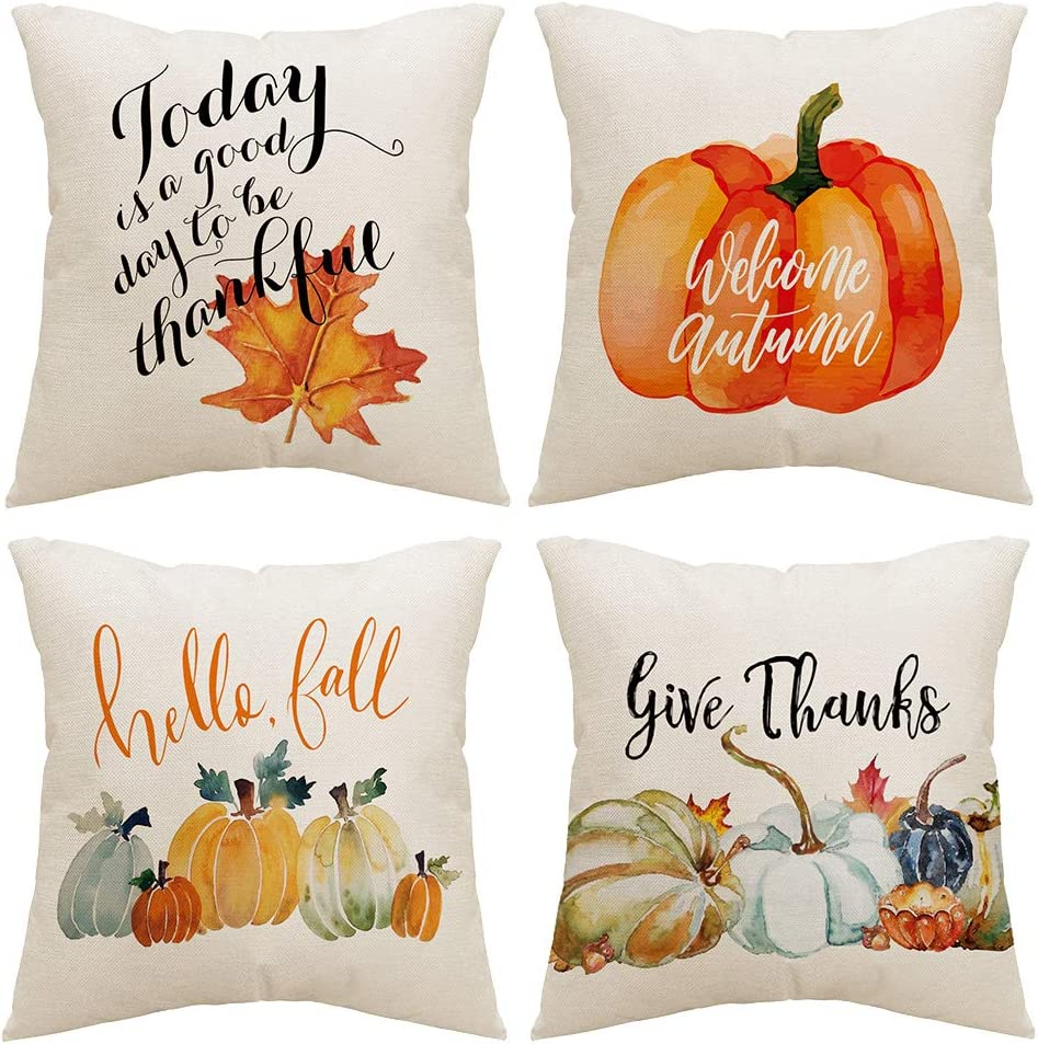 ZUYUSUT Fall Pillow Covers 18x18 Inch Set of 4 Harvest Pumpkins Leaves Autumn Holiday Rustic Linen Pillow Case Farmhouse Decorations Thanksgiving Fall Decor for Sofa Couch Indoor Outdoor