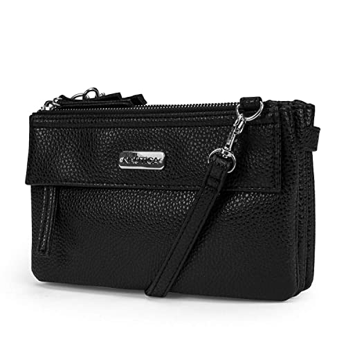b11d5257f2 Nautica Belafonte Womens Vegan Leather Crossbody Bag With Removable Clutch ( Black)