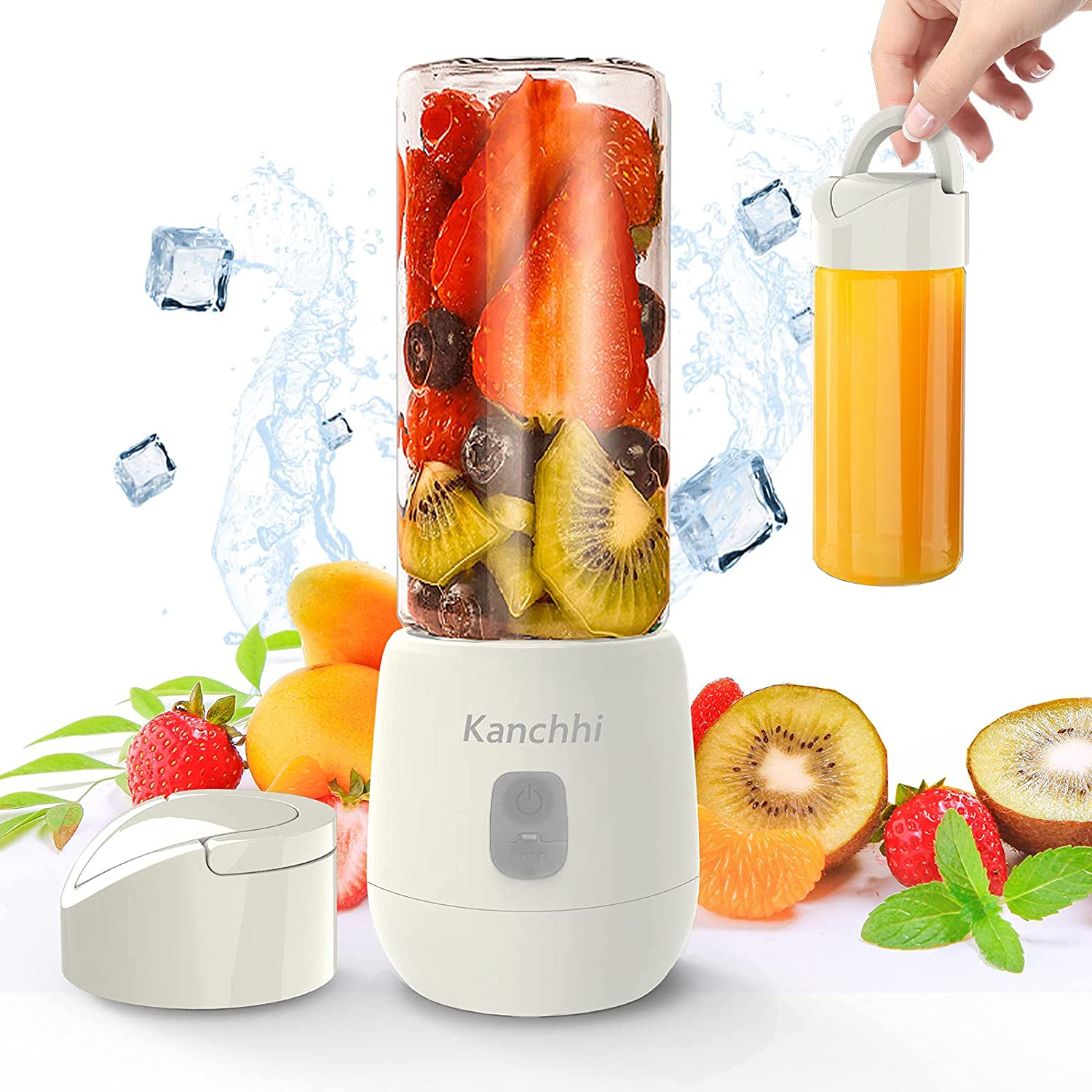 Portable Blender Glass, 14 OZ Personal Smoothie Blender with 6 Blades, Rechargeable USB Mini Small Blender Cup for for Juice, Yogurt, Smoothies and Shakes