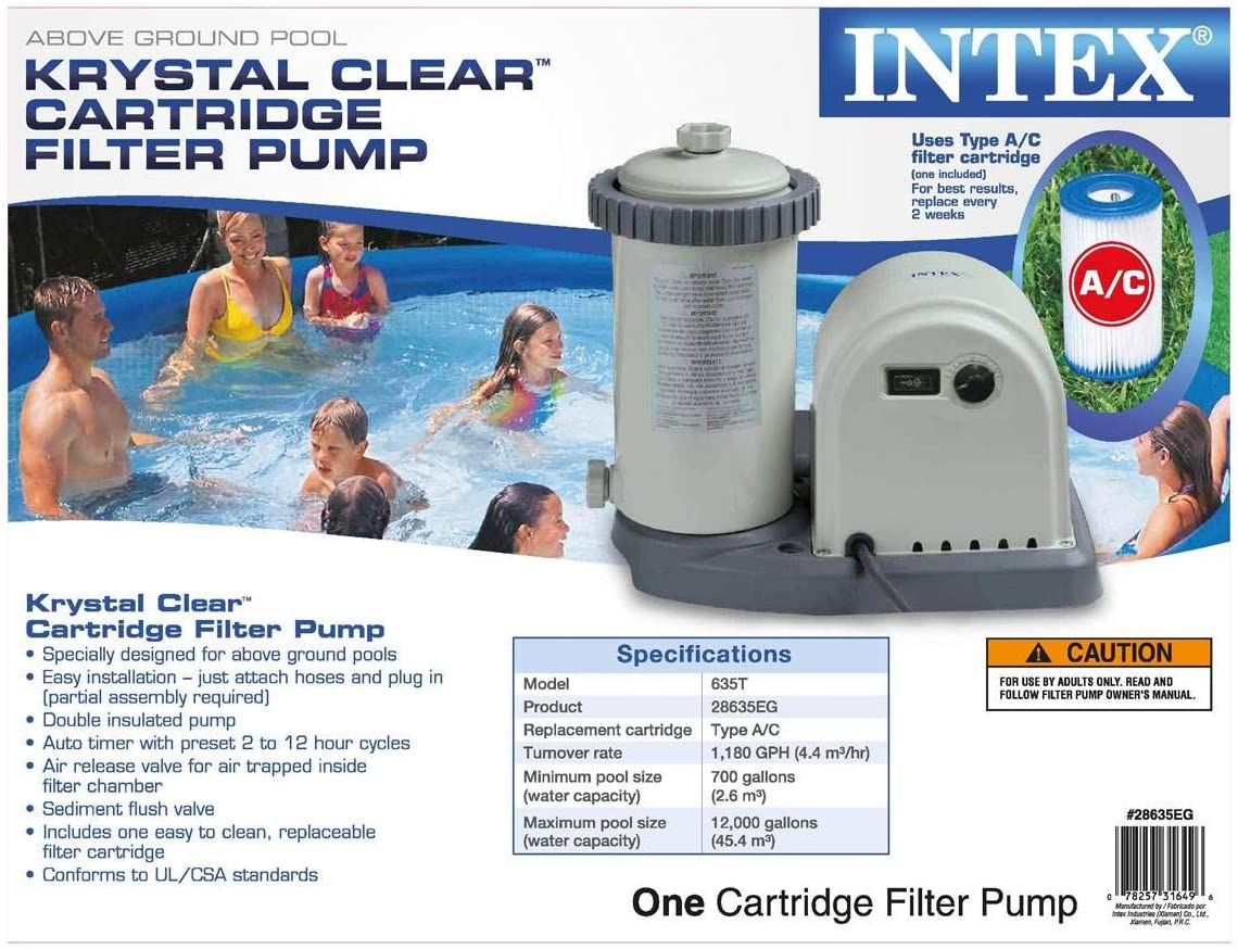 Intex 1000-Gallon Filter Pump Swimming Pool Spa Pond Swim Soak For Clear Water