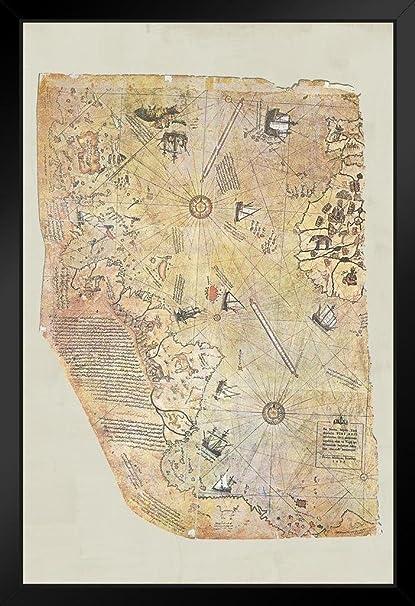 Amazon piri reis 1513 historical world map framed poster by piri reis 1513 historical world map framed poster by proframes 14x20 inch gumiabroncs Choice Image