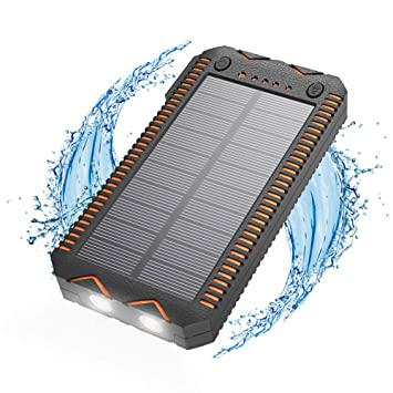 Cargador Solar Portátil, Bateria Externa para Móvil 15000mAh,Rápido,con Mechero,Linterna