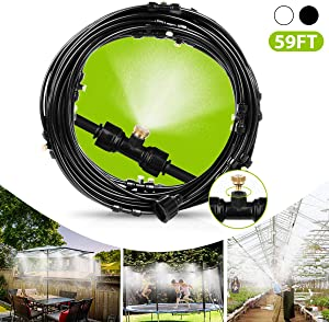Misting Cooling System 59FT(18M) Misting Line, Outdoor Mister for Patio, Fan, Garden, Greenhouse, Trampoline for waterpark -Backyard Mist System with 26 Brass Mist Nozzles, 3/4'' Adapter, Black