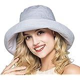 Parel (パレル) UVカット帽子 日焼け 紫外線対策 リボン付き つば広 ハット サイズ調整可能 日よけ レディース