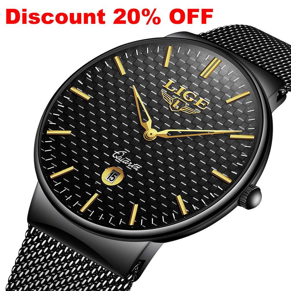 Relojes para Hombre Cuarzo Minimalista Delgado Reloj de Hombres Marca de Lujo LIGE Elegante Negocios Retro Relojes Negro Malla Acero Inoxidable Impermeable Reloj Hombre