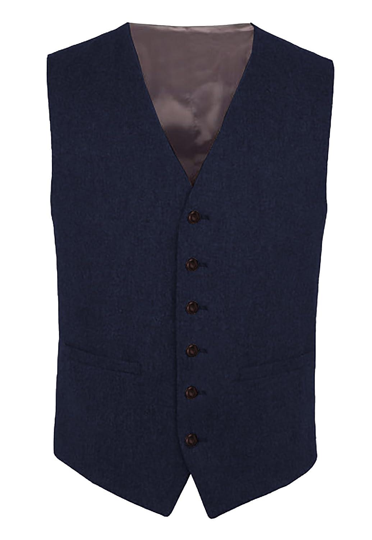 Hann Brooks Navy Blue Mens Wool Tweed Slim Fitted Vest Waistcoat S M L XL 2XL 3XL*