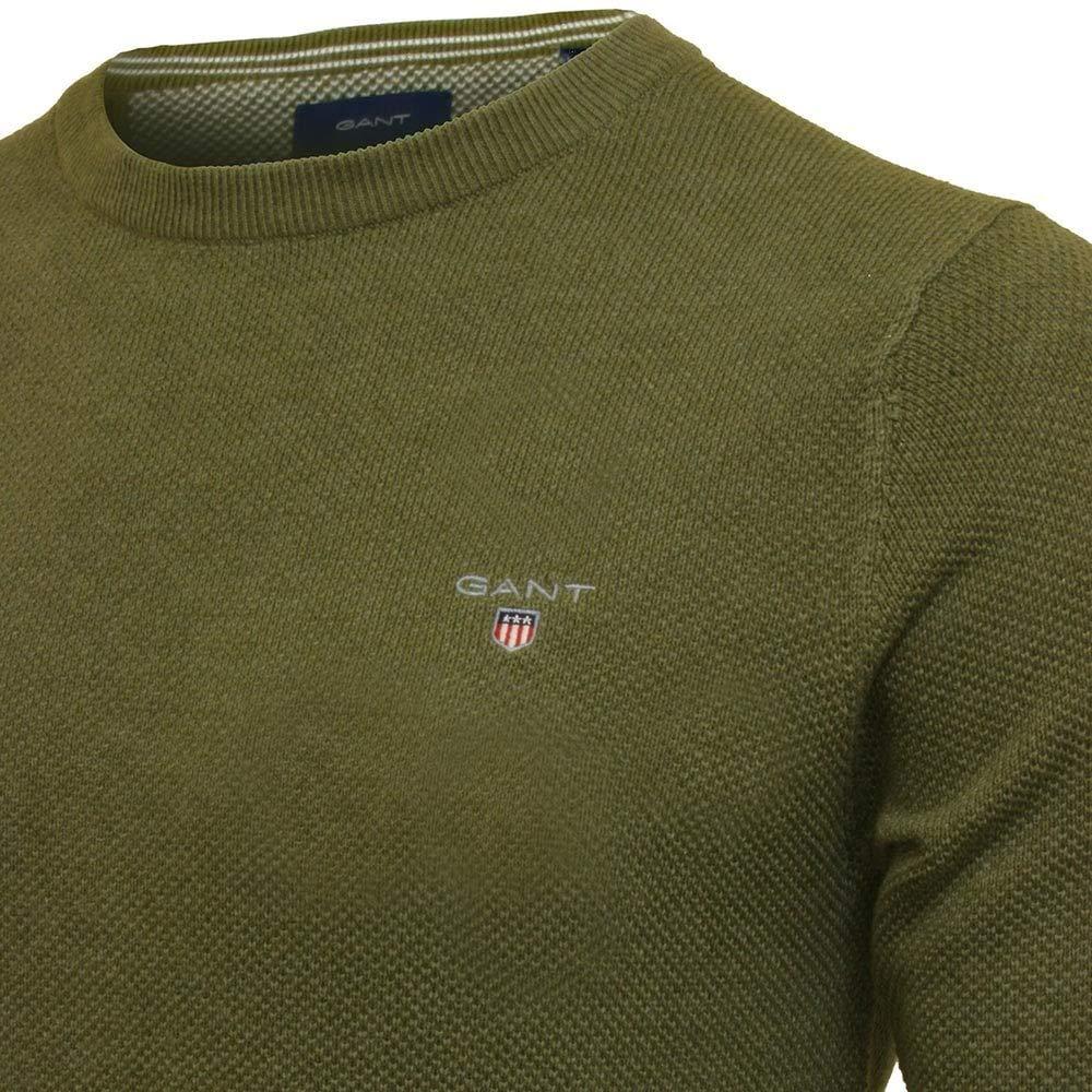 Gant 80021-384 Cotton Pique Crew Neck Pullover Girocollo Uomo 100/% Cotone Military Green