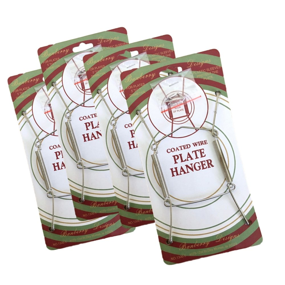 Banberry Designs Silver Plate Hangers - Set of 4 Vinyl Coated Plate Hanger 5 to 7 Inch Plates - Includes Hook and Nail for Hanging
