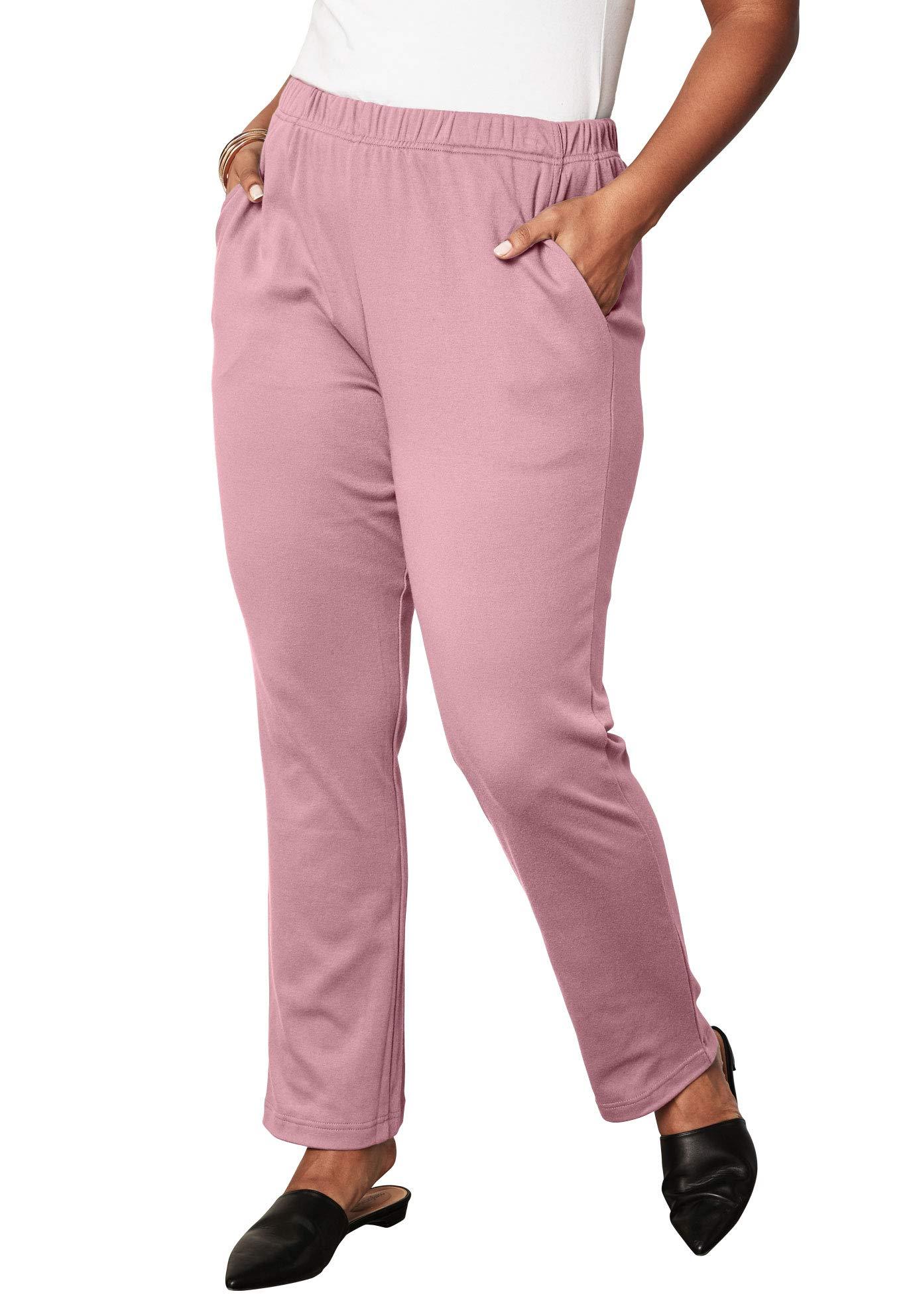 ebd57d06c14 Roamans Women s Plus Size Petite Soft Knit Straight-Leg Pants - Rose Mist