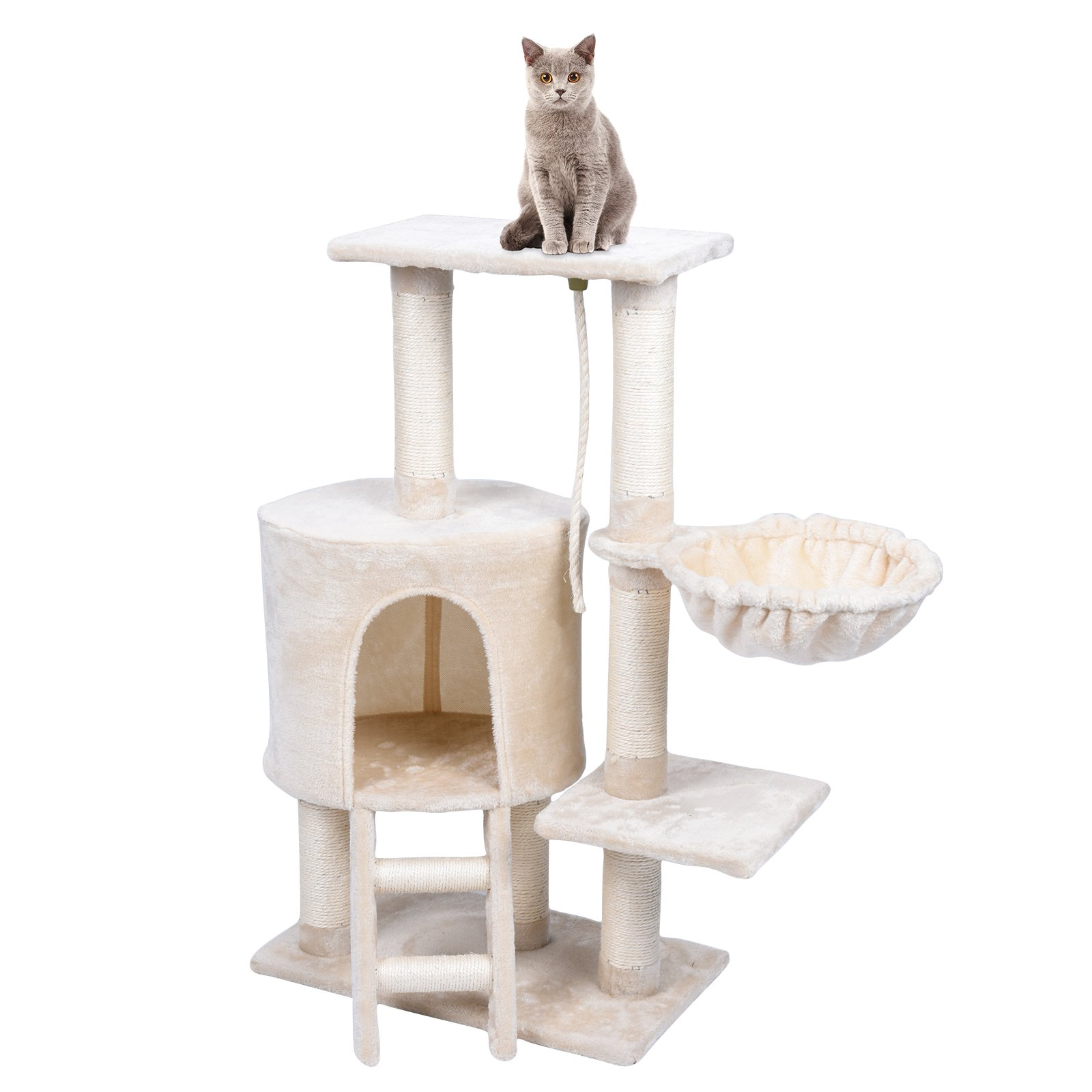 WELLHOME Cat Tree With House Condo Tower Pet Scratching Posts Unique Kitten Perch Furniture Natural Sisal Kitty Climbing Toys Activity Tree With Playhouse In The Corner Window Perches (Beige)