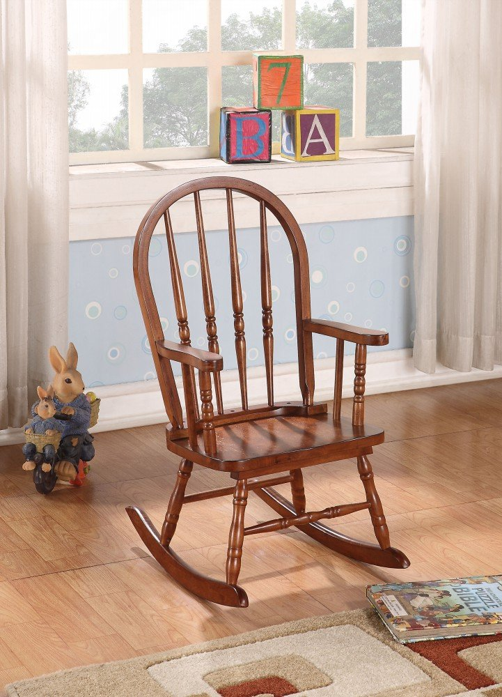 Simple Relax 1PerfectChoice Kloris Collection Youth Kids Wood Rocking Chair in Tobacco Finish w/ Round Back