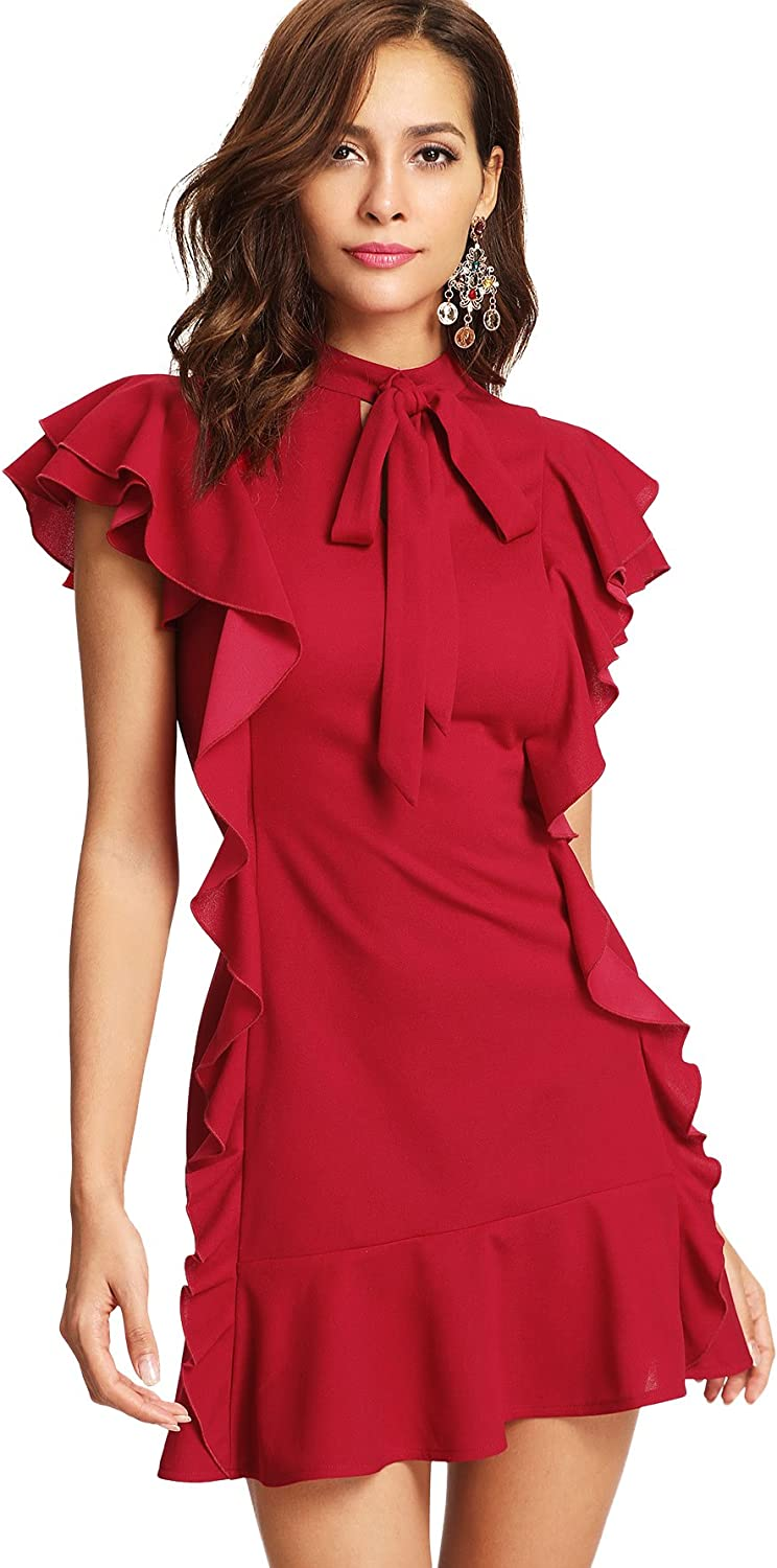 Floerns Women's Tie Neck Short Sleeve Ruffle Hem Cocktail Party Dress