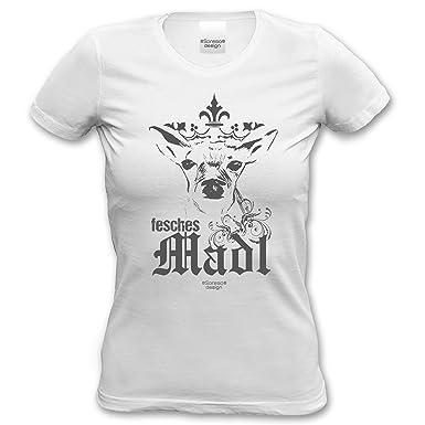 cooles Damen Frauen Fun T-Shirt Motiv Fesches Madl ideales Geschenk Oktoberfest  Volksfest-Outfit Wiesn-Zeit Farbe: weiss: Amazon.de: Bekleidung
