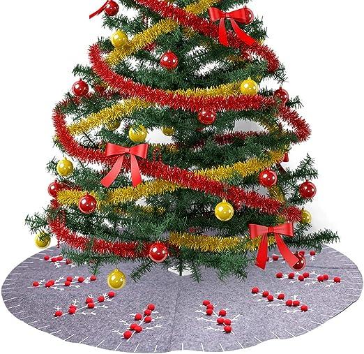 HOTEU - Falda para árbol de Navidad (120 cm), Color Gris, Gris ...