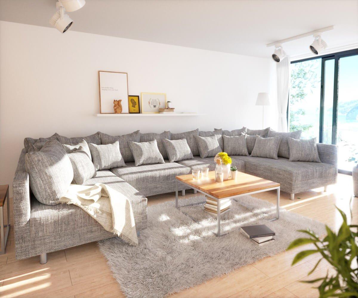 Couch Clovis Xl Hellgrau Strukturstoff Wohnlandschaft Modular Kaufen