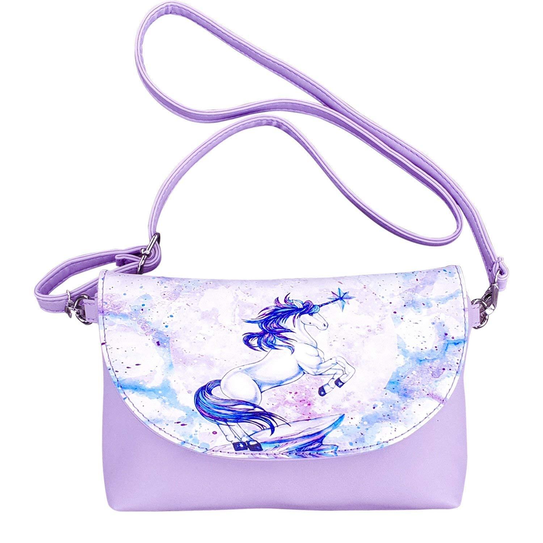 a12aa2b5c4fd Super Cute Unicorn Purse for Girls Purple PU Leather Crossbody Bag Unicorn  Gifts