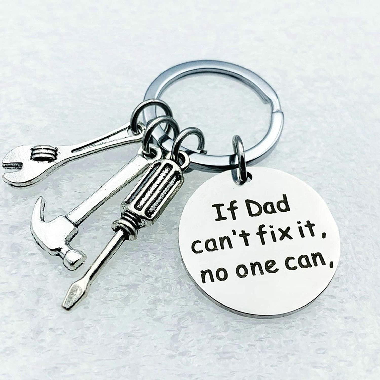 Aooaz Porte-Cl/és Homme Grav/é If Dad Cant Fix It No One Can Porte Cl/é Acier Inoxydable Argent