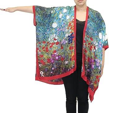 06c5beec60a Cocoon House Women s Garden Of Sunflowers Silk Long Kimono Jacket Oversized  One Size Plus