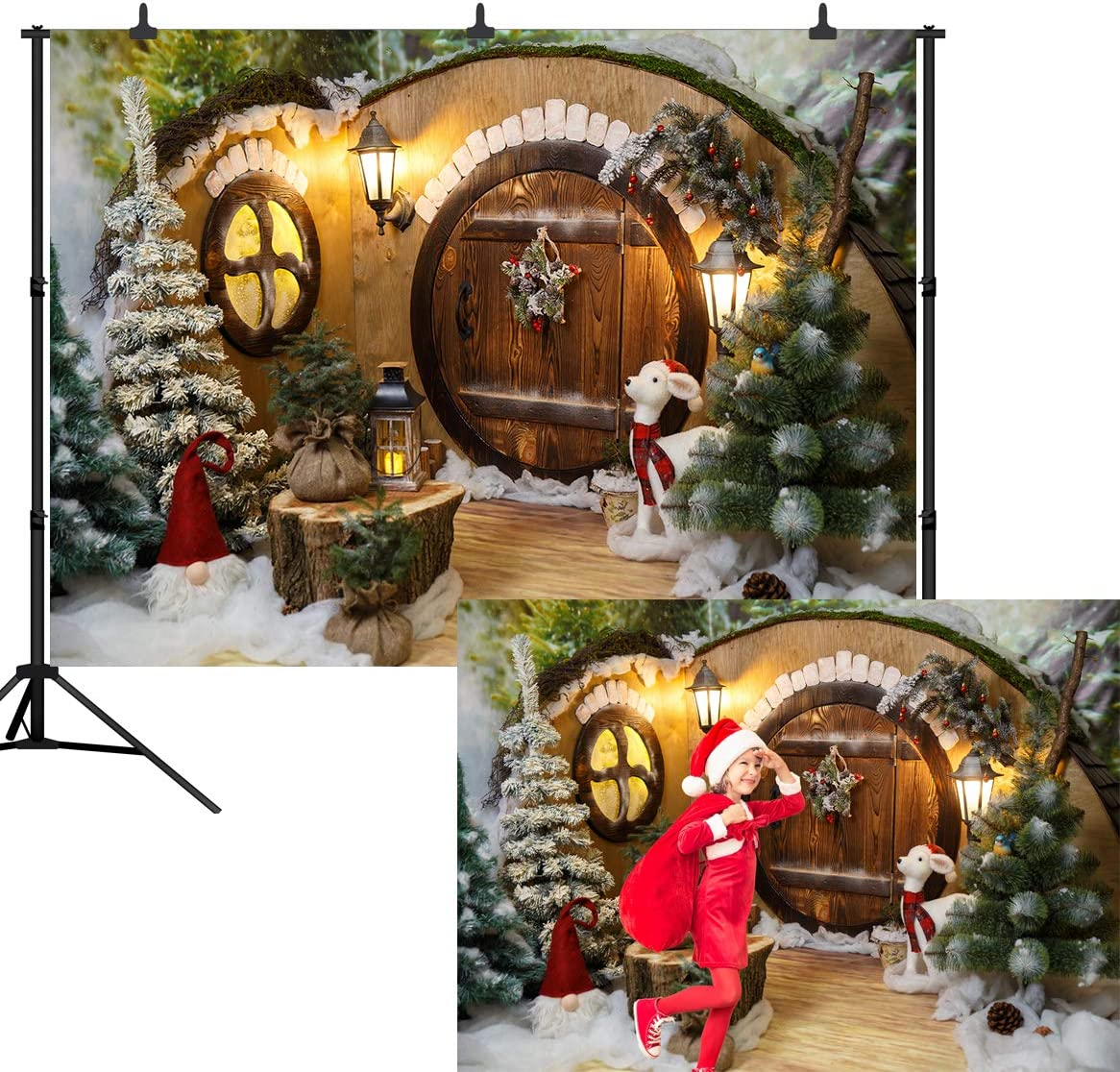 DePhoto 10X8FT Christmas Winter Backdrop Fairy Tale Wooden House Star Lights Decorations Christmas Tree Gifts Photography Seamless Vinyl Photo Background Studio Prop PGT490C