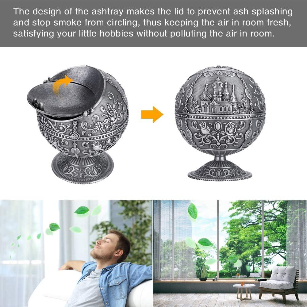 01 Vintage Art Craft Ashtray Metal Round Ball Stamped Pattern Gift Decoration Rotekt Windproof Ashtray