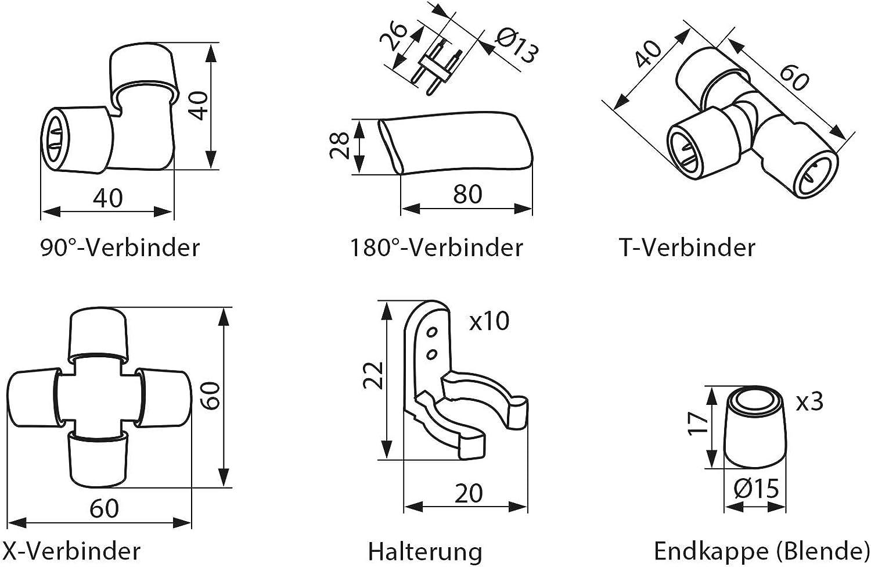 3 St/ück Endkappe Blende f/ür LED Lichtschlauch GIVRO-Z-System-Zubeh/ör
