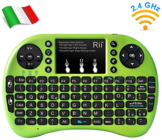 557 opinioni per Rii Mini i8+ Wireless (layout ITALIANO)- Mini tastiera retroilluminata con mouse