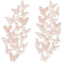 48Pcs 3D Butterfly Wall Decal DIY Art Rose Gold Glitter Sticker for Kids Bedroom Living Room Classroom Offices Home Party Decor Metallic Removable Decals Stickers Nursery Butterflies Paper Decorations