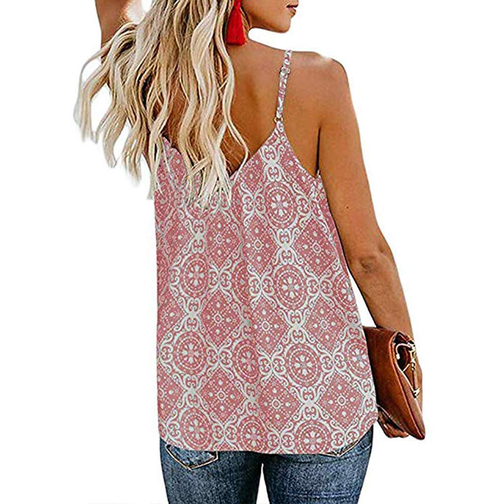 Keliay Womens Tops for Summer, Women Sling V Neck Sleeveless Strap Print Down Front Casual Loose Shirts Tops Pink