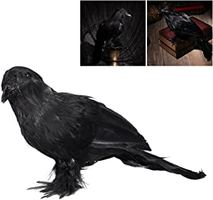 OULII Artificial Crow Black Bird Raven Prop Decor for Halloween Display