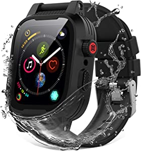 YOGRE 44mm Apple Watch Waterproof Case for Series 6 Series 5 Series 4/SE, Full Sealed Protective iWatch Case with Built-in Screen Protector with 2 Soft Watch Band