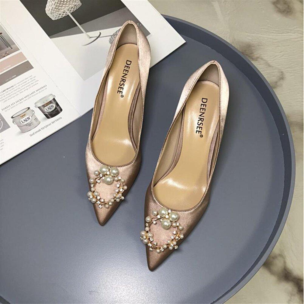 Xue Qiqi Zapatos de la Corte Zapatos rojos de la boda de las mujeres zapatos finos con diamantes de imitación boca baja señaló solo zapatos femeninos pequeños tacones altos femeninos, 35, champagne 10CM 35|Champagne 1