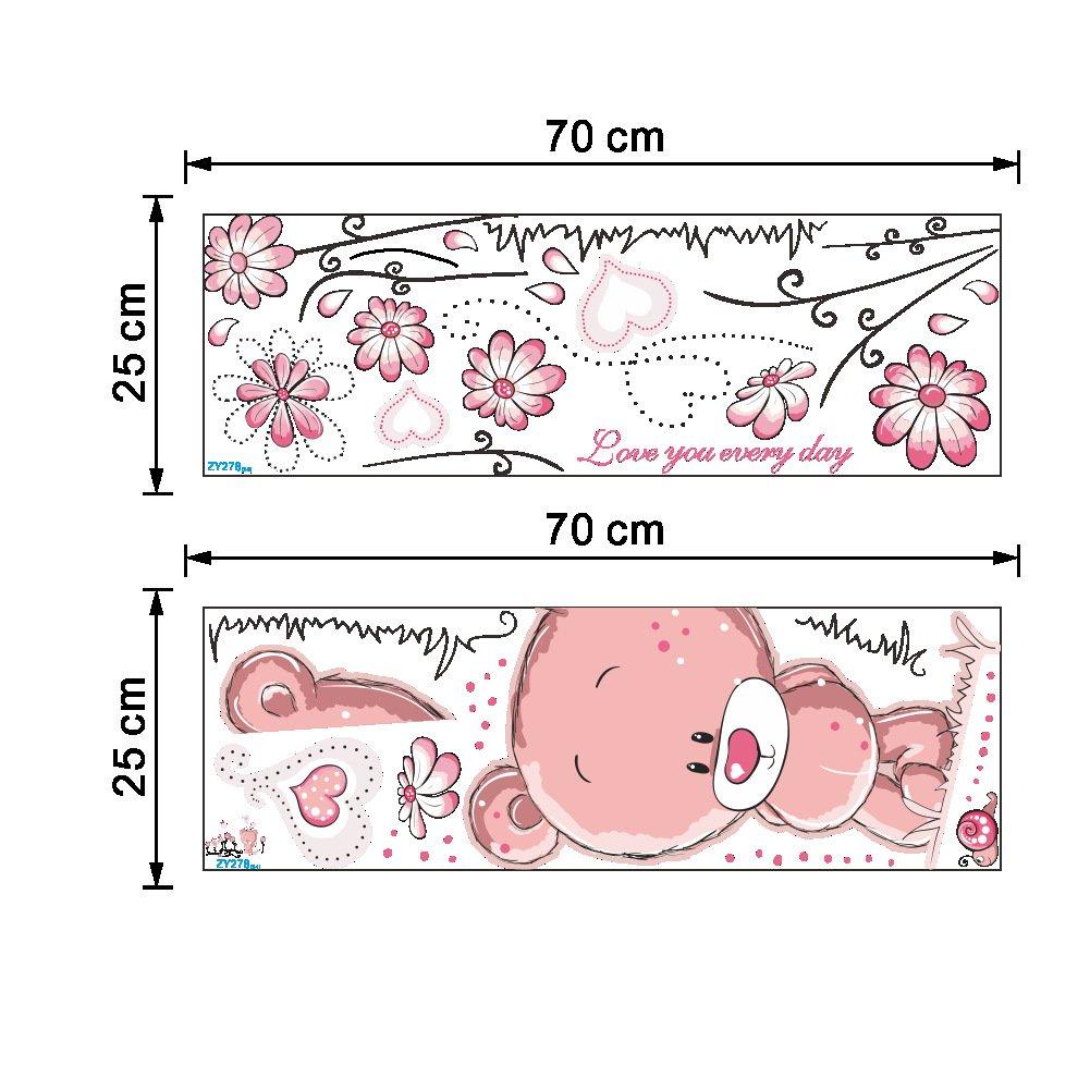 Dragon Honor Cartoon Cute Pink Bear Wall Stickers Flowers Mural For Kids Room Nursery 276