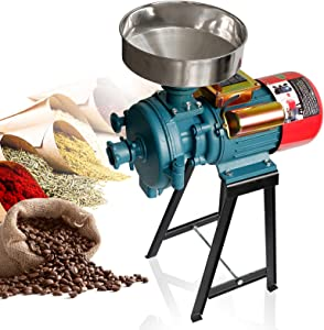Grain Mills Electric Grain Mill Grinder, 3000W 110V Mill Grinder Electric Grain Grinder Heavy Duty Home/Commercial Electric Feed Mill Dry Cereals Grinder Corn Grain Coffee Wheat Feed Machine With Funnel (Dry Grinder)